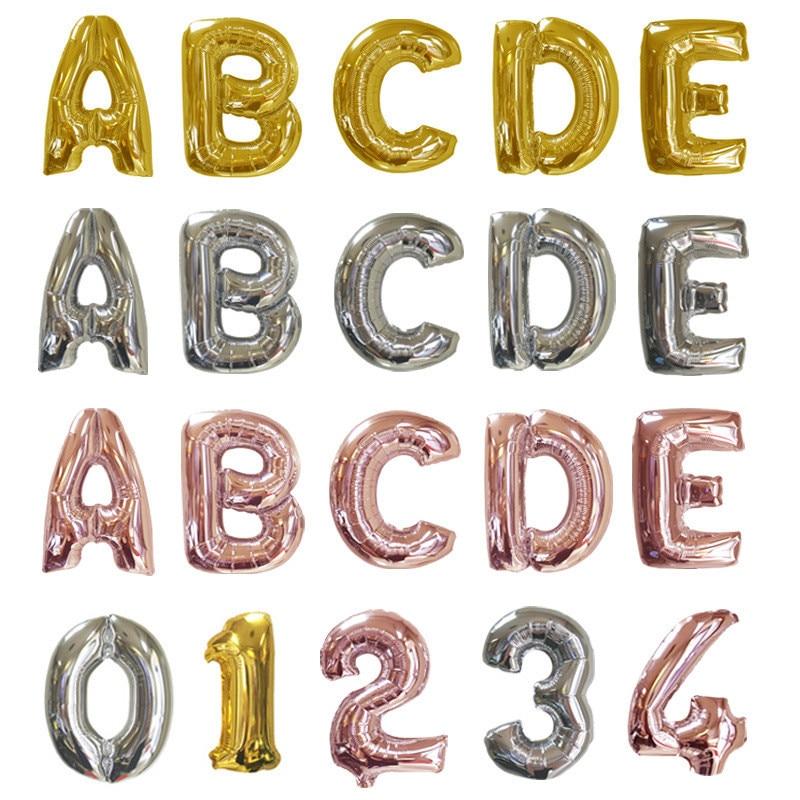 16 pulgadas Rosa oro plata letra globo alfabeto rojo globo boda Rosa hoja helio carta Ballon cumpleaños fiesta decoración chico