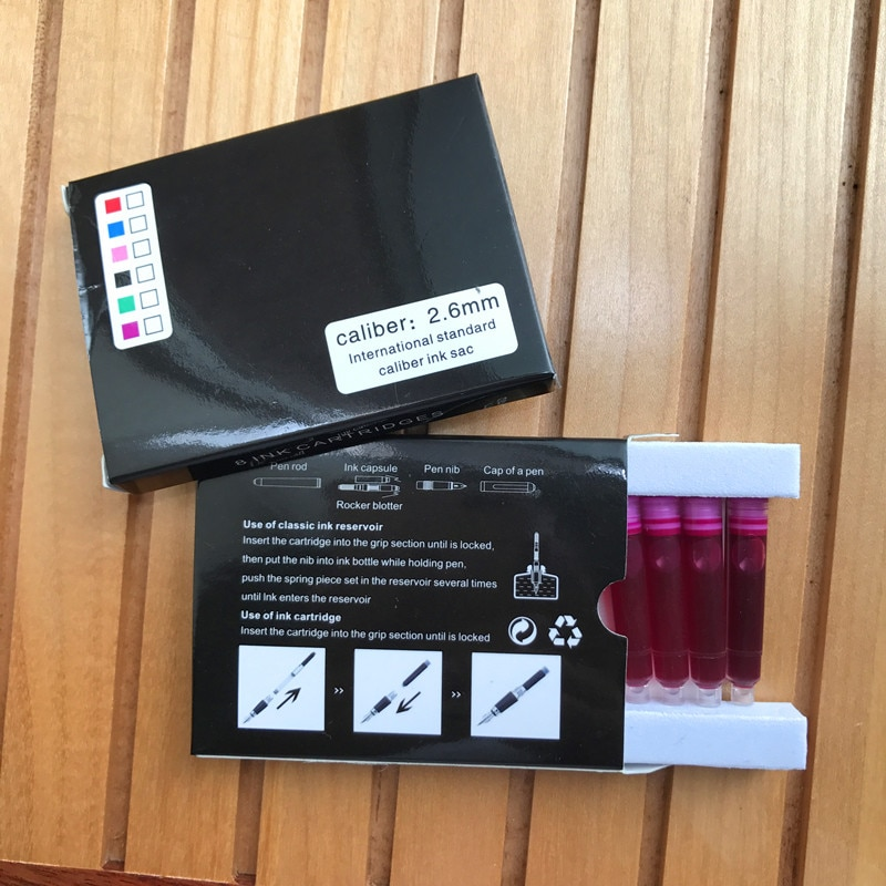 24 pcs Rosa Colorida a Jato de tinta Cartucho de Tinta Do Cartucho Diâmetro 2.6mm Adequado para Baoer/Jinhao/Picasso/