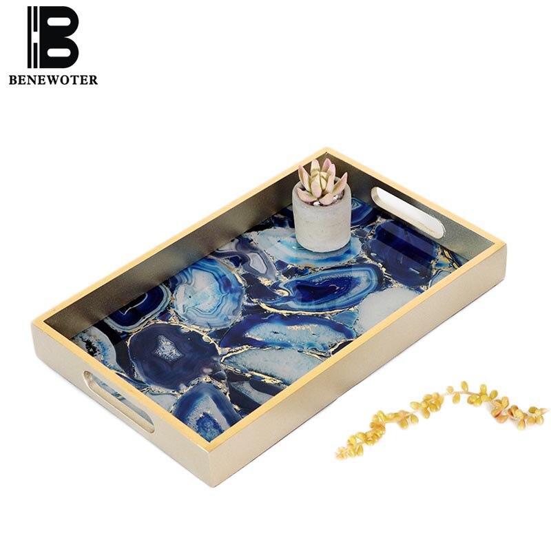 Креативный синий агатовый узор дисплей блюдо ювелирный чайный набор поднос для хранения винтажное украшение для дома ресторан отель серви...