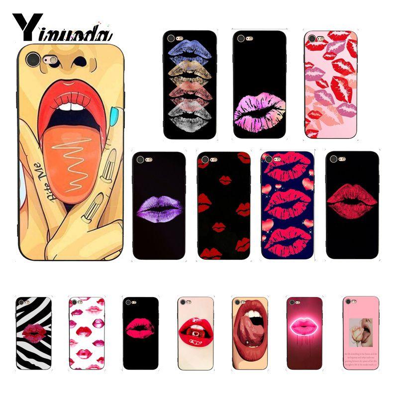 Yinuoda, funda de teléfono protectora de labios rojos para chica sexi para iphone SE 2020 8 7 6 6S 6Plus X XS MAX 5 5S SE XR 10, funda