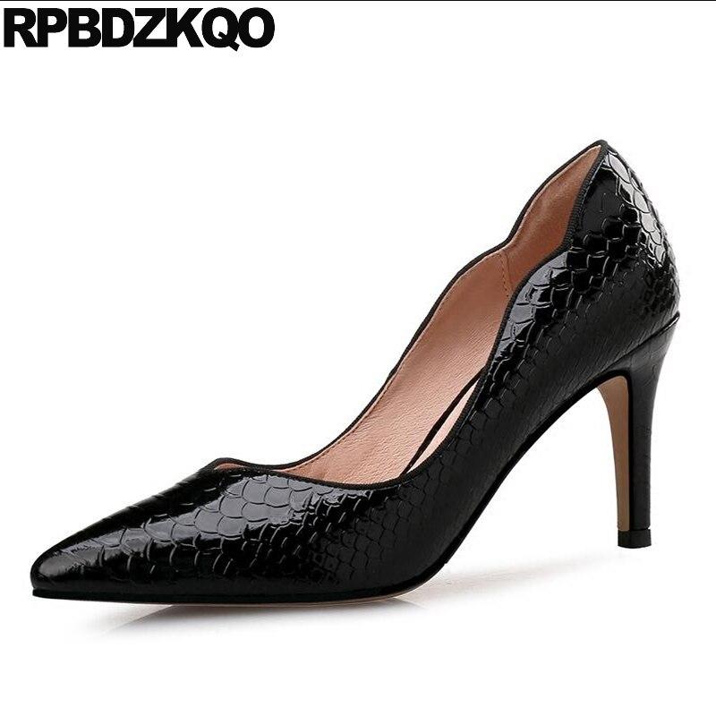 2017 Zapatos elegantes para mujer, travesti de mujer, serpiente 12 44, tacones altos 11 43, talla 33 Plus, Scarpin de piel de serpiente negra, 3 pulgadas, rojo vino