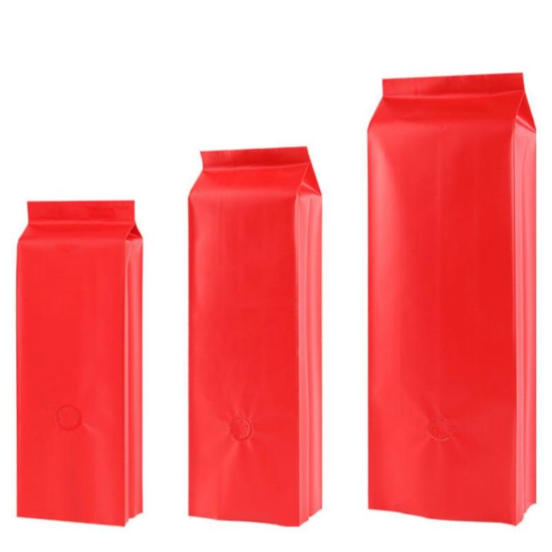100 Uds. Bolsa de órgano de papel de aluminio rojo esmerilado bolsas de envasado de café té comida bolsa de sellado térmico con tapa abierta