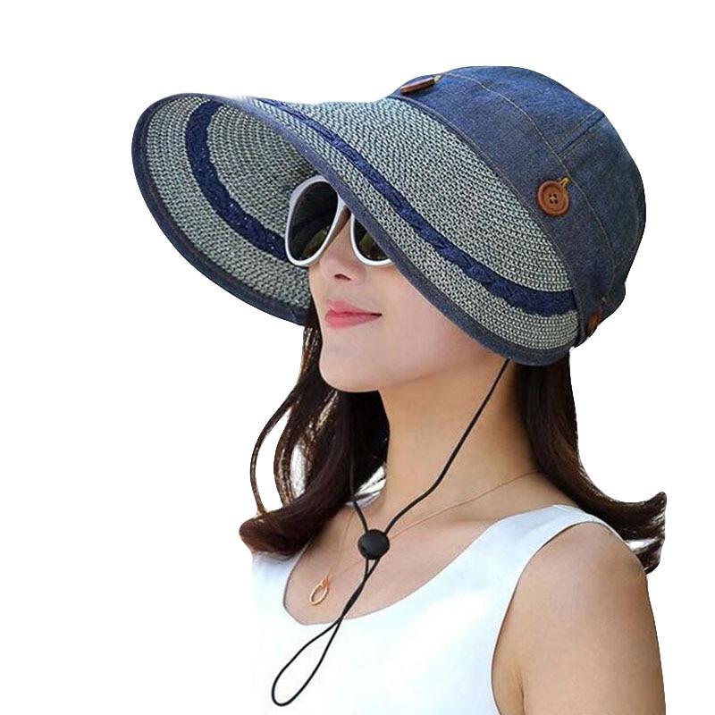 BINGYUANHAOXUAN Hüte Frauen Große Breite Krempe Floppy Sommer Strand Sonnenhut Kappe Taste Stroh Hut Sommer Hüte Für Frauen Anti-Uv visier