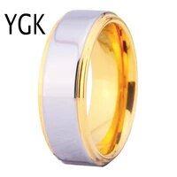 ygk brand jewelry 8mm width golden step edge with shiny center tungsten carbide ring for wedding