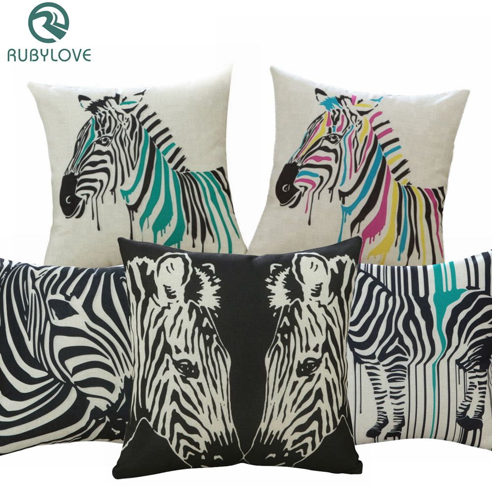 Funda de Cojín cuadrado de cebra creativa ola de colores 45x45cm, funda de almohada de lino para coche, silla, cama, sofá, fundas de almohada de cintura