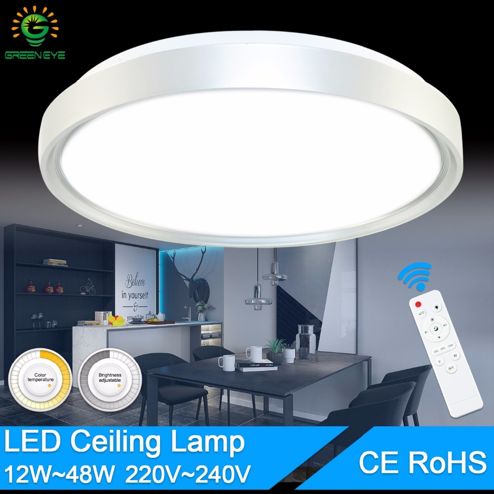 Modernas luces de techo AC 220V 240V 12W 24W 36W 48W luz de techo LED Color shell Panel de Control remoto lámpara accesorio sala de estar