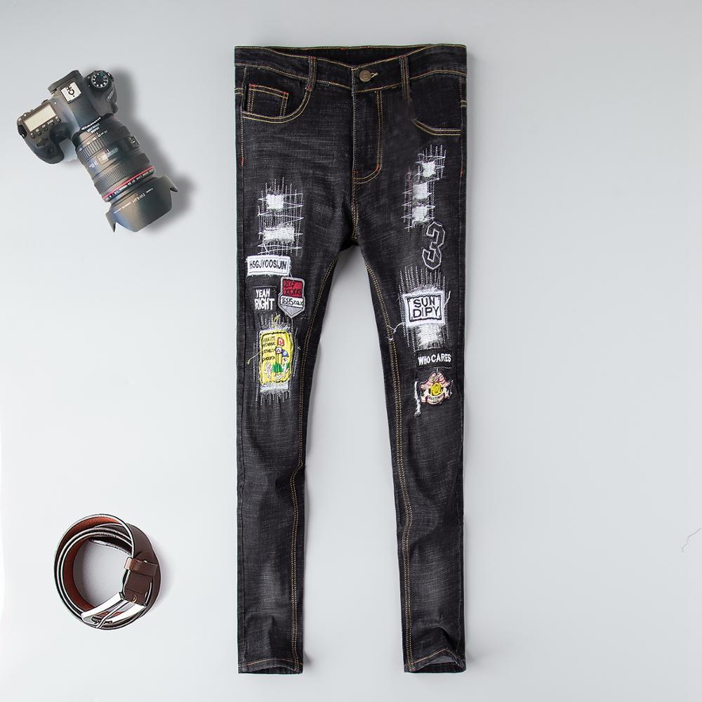 Skinny Jeans Men Hot Sale Zipper Fly Medium New 2019 Motorcycle Denim Pants Brand Embroidery Skull Biker Animal Full Length skull zipper fly skinny faux leather pants