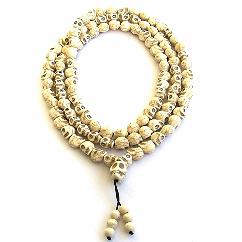 8mm White stone beads 108 Skull Beads Tibetan Buddhist Prayer Rosary Meditation Mala for women men jewelry