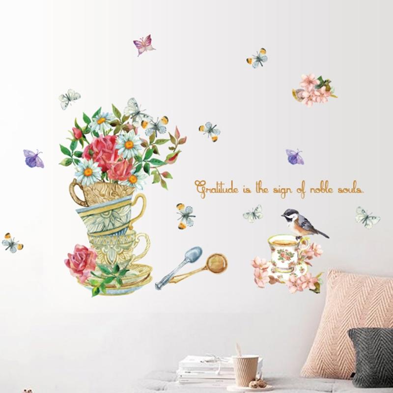 Ручная роспись чашки цветы шаблон стикер на стену Ретро Европейский декоративные обои шкаф проход наклейки для стены в гостиной