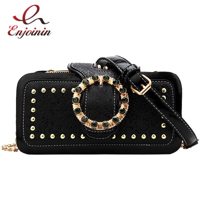 Round Diamond Studded Rivet Design Pu Fashion Luxury Women Shoulder Bag Tote Crossbody Mini Messenger Bag Party Clutch Bag Flap