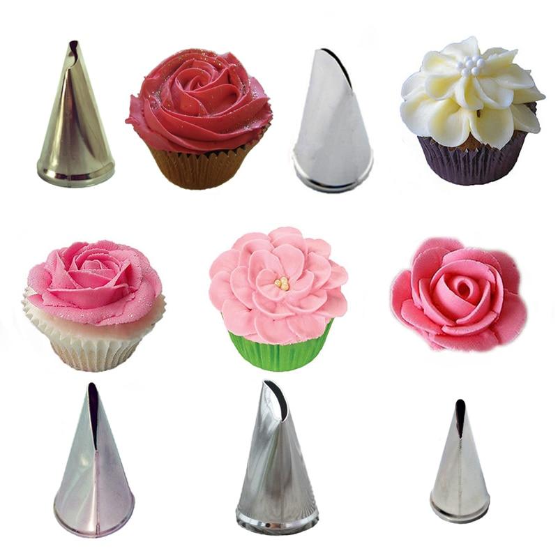 5 Pcs/Set Rose Petal  Cream Tips Cake Decorating Tools  Icing Piping Nozzles  Cupcake Pastry Tools