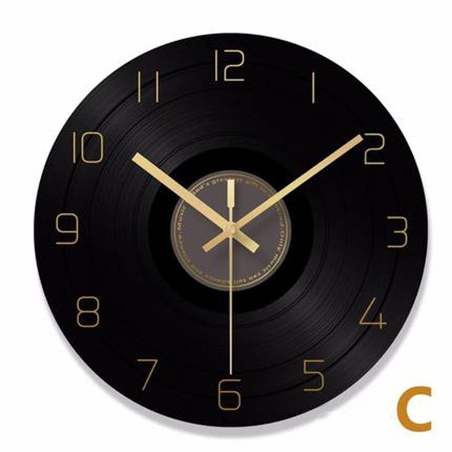 Vinyl Record Wall Clock Retro Industrial Roman Numerals Numbers Black Clock Jam Dinding Unik Vintage Home Decor Kitchen 60C050