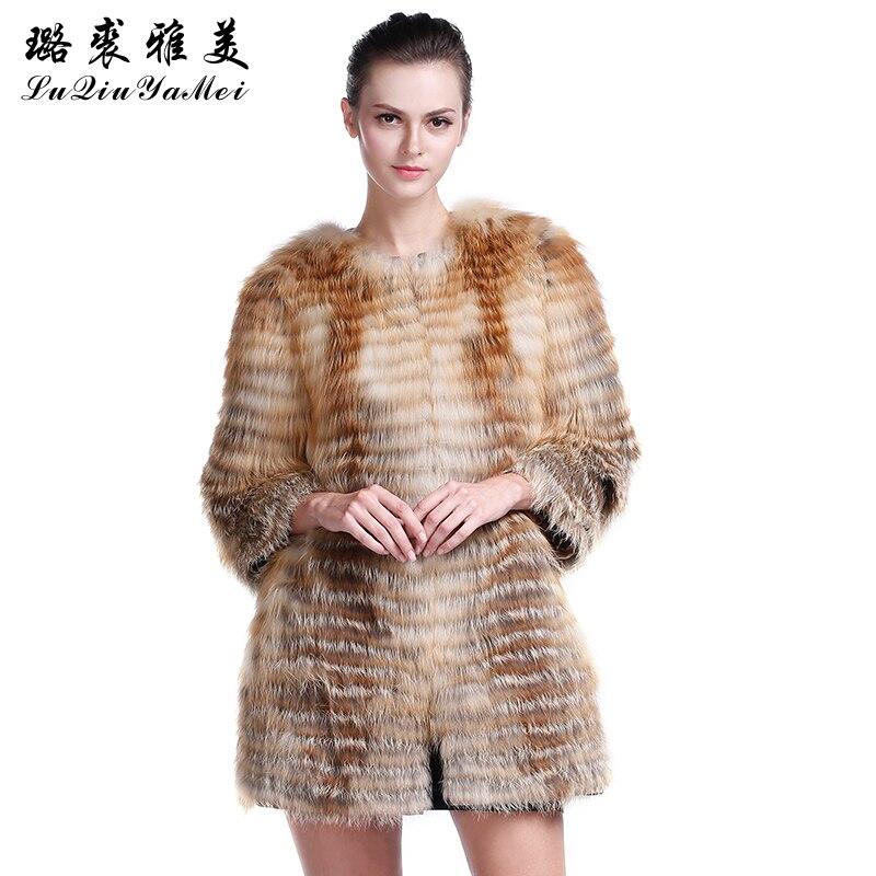 Women 's Winter Real Fox Fur Coats Fashion Slim Fur Outerwear Natural Fox Fur Jacket for Women Coat of Fox Plus Size S-7XL