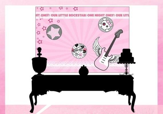 Rock Star guitarra estrella Rosa cumpleaños fondo de alta calidad Impresión de ordenador fiesta foto telón de fondo