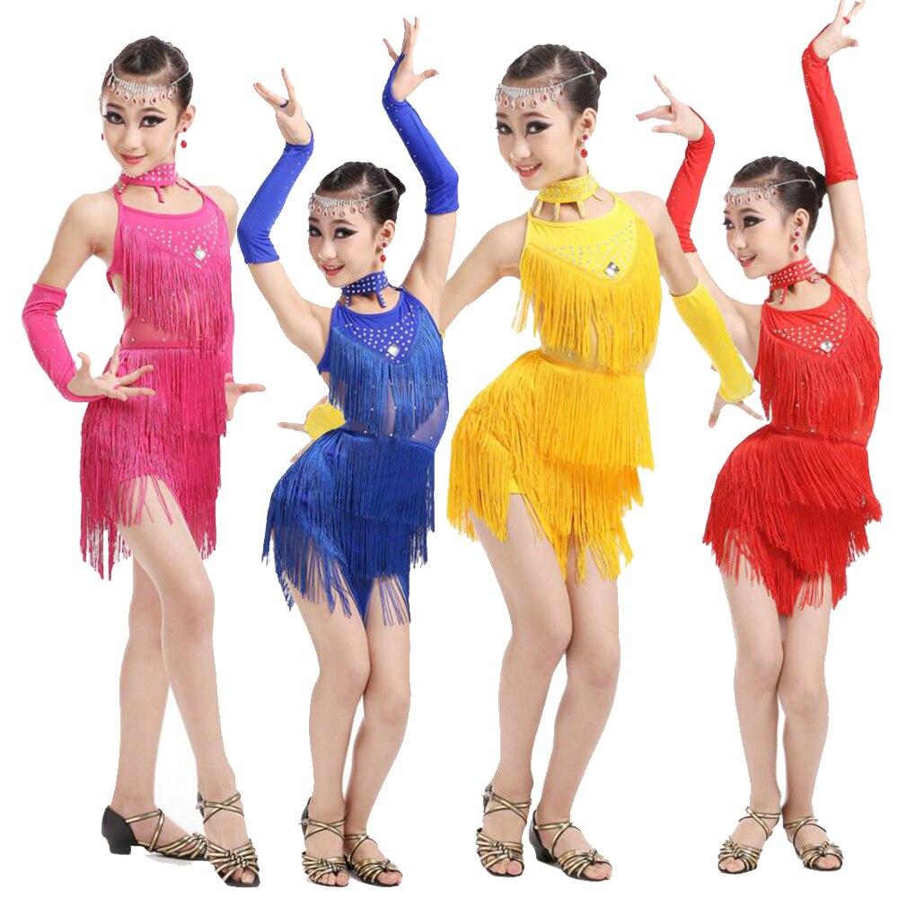 Niñas niños lentejuelas vestido de baile latino niños Salsa Ramba Tango trajes Niñas Ropa de baile con borlas desgaste del escenario de baile traje de fantasía