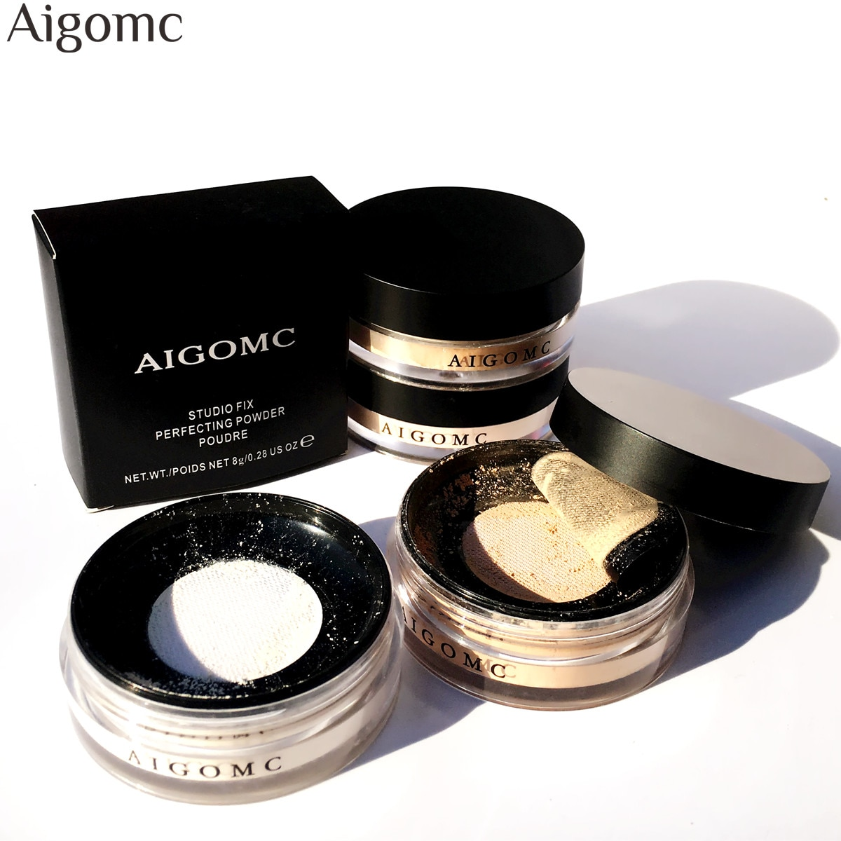AIGOMC Powder Cosmetic For Face Smooth Loose Powder Makeup Transparent Finishing Waterproof Loose Po