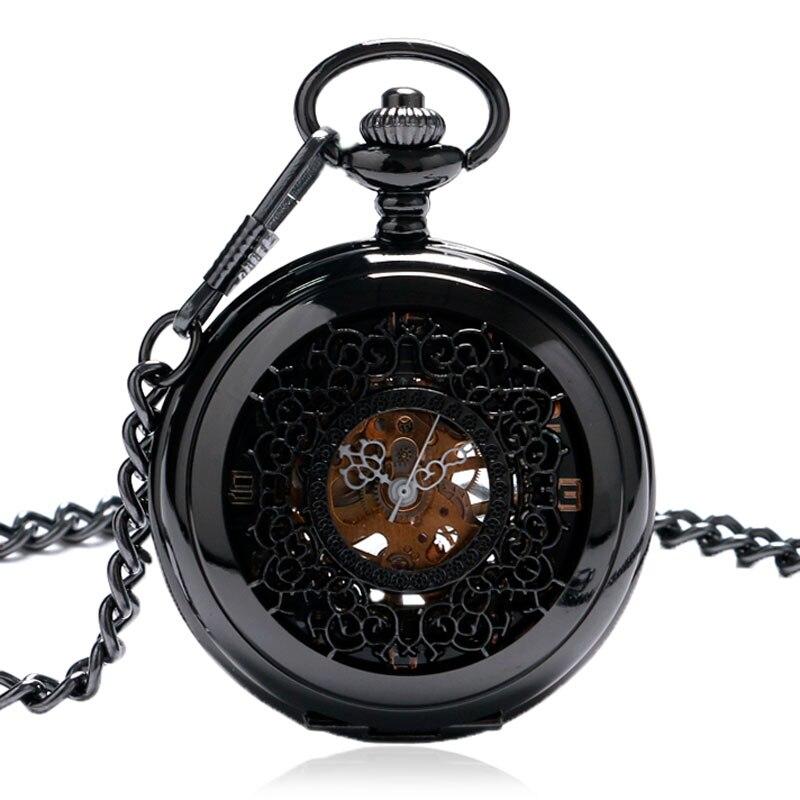 יוקרה חלול נירוסטה חלק Mechancial יד רוח כיס שעונים גברים נשים Fob שעון מתנה עם שרשרת