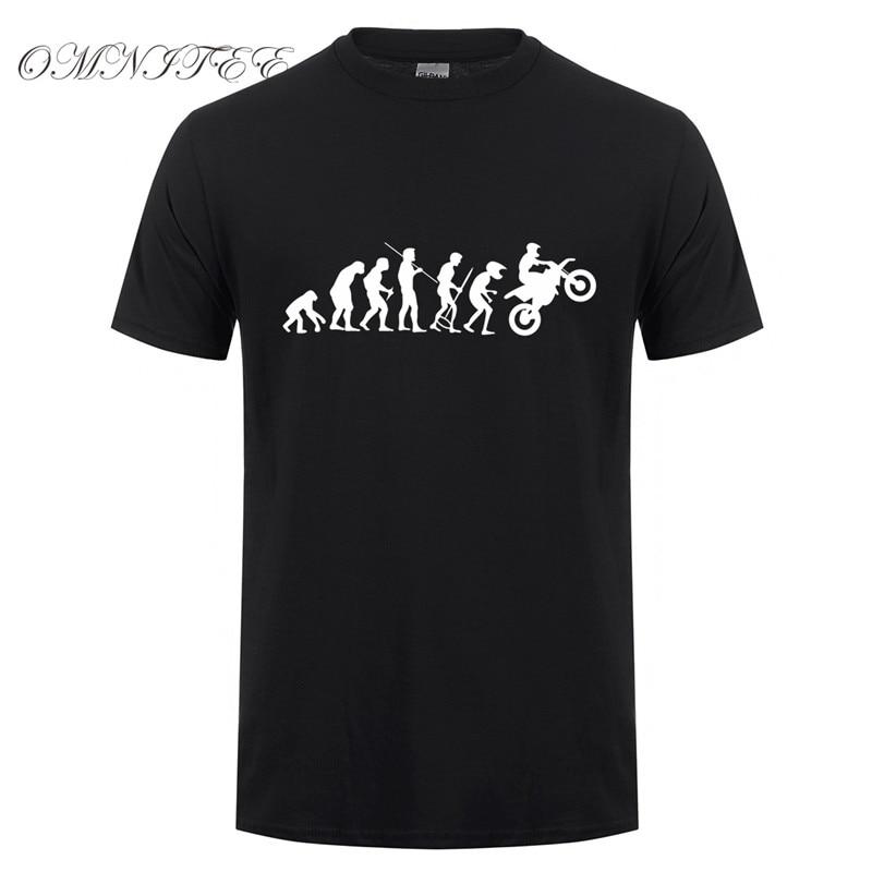 Camiseta de moto Evolution, camiseta divertida con estampado de evolución del mono, camisetas de manga corta para hombre, camisetas de algodón para hombre, OT-084