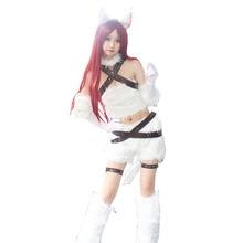 2017 The Sinister Blade Katarina Cosplay Costume White Custom Catwoman Version Uniform