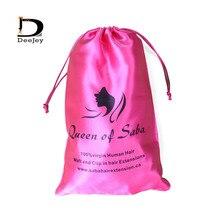 custom printed polyester satin silk bags drawstring hair bags packaging hair bundle packaging bags 20pcs lot