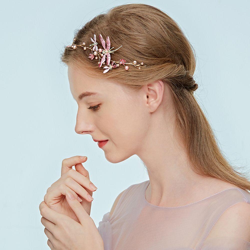 1 Uds., dulce libélula para mujer, diadema nupcial de perlas simuladas, Tiaras de flores, joyería elegante para boda, cabello