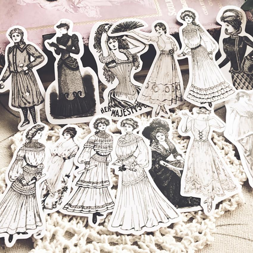 vintage-signore-europee-adesivi-fai-da-te-scrapbooking-diario-etichetta-sticker-retro-personaggio-dei-cartoni-animati-del-vestito-da-modo-di-disegno-della-decorazione-di-carta-adesiva