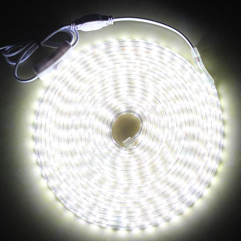 Tira de luces Led IP68 a prueba de agua con interruptor de encendido/apagado AC220V tira de luces LED Flexible 60 leds/M cinta de cinta LED al aire libre para el hogar