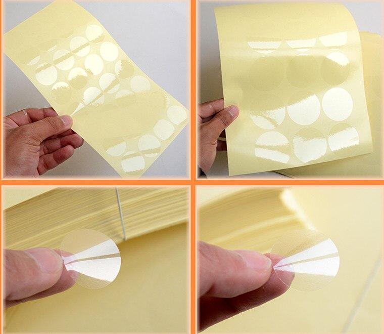 1000 piezas de 2,5 cm de diámetro transparente redonda etiquetas círculo PVC sellado etiquetas redonda Pegatinas transparentes