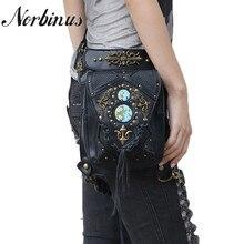 Norbinus Steampunk Mulheres Bolsas de Ombro PU LEATHER Cintura Fanny Saco Crossbody Sacos Do Mensageiro Do Sexo Feminino Rebite Coldre de Perna Queda