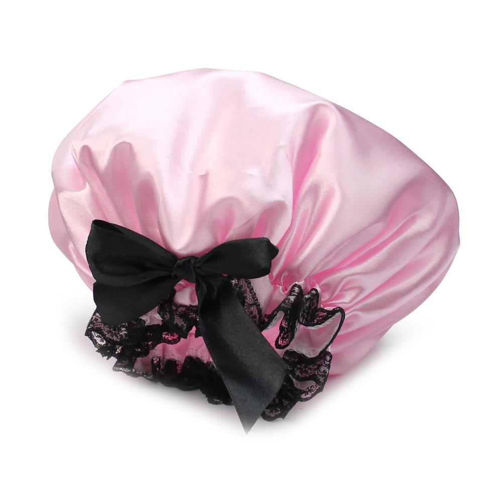 Waterproof shower cap pink ribbon elastic band lace bow cap adult shower smoke fluffy bath cap