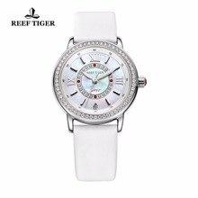 Reef Tiger/RT Fashion Elegant Watches for Women Ronda 763 Quartz Watch with Diamonds Bezel MOP Dial Calfskin Leather RGA1563