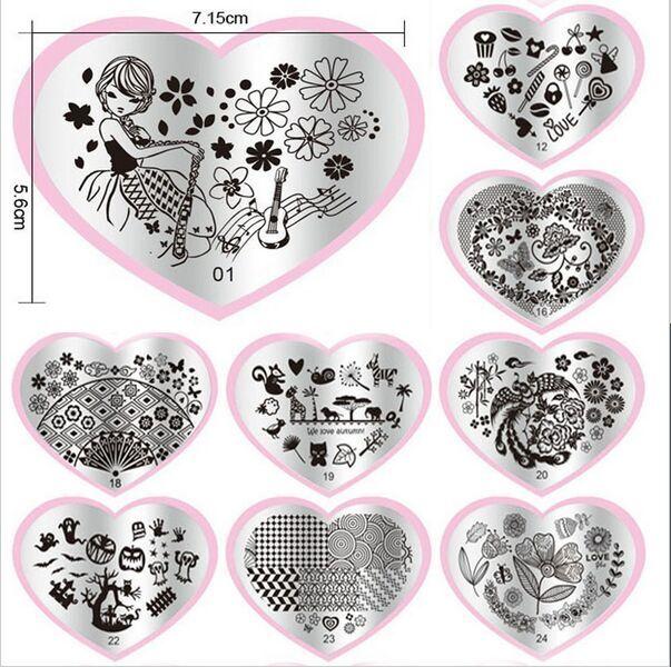 6 pçs/lote 5.6*7.15 cm de Aço Inoxidável Lindo Coração Selos 3D Impressão Da Arte do Prego Carimbar Placas Stamper Modelos Stencils para Unhas