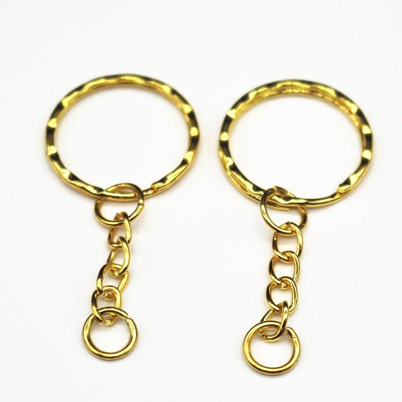 20 unids/lote llavero chapado en oro de 1,3x25mm con cadena de 4 eslabones de 55mm de largo, nuevo Llaveros de metal, llavero y llavero accesorio
