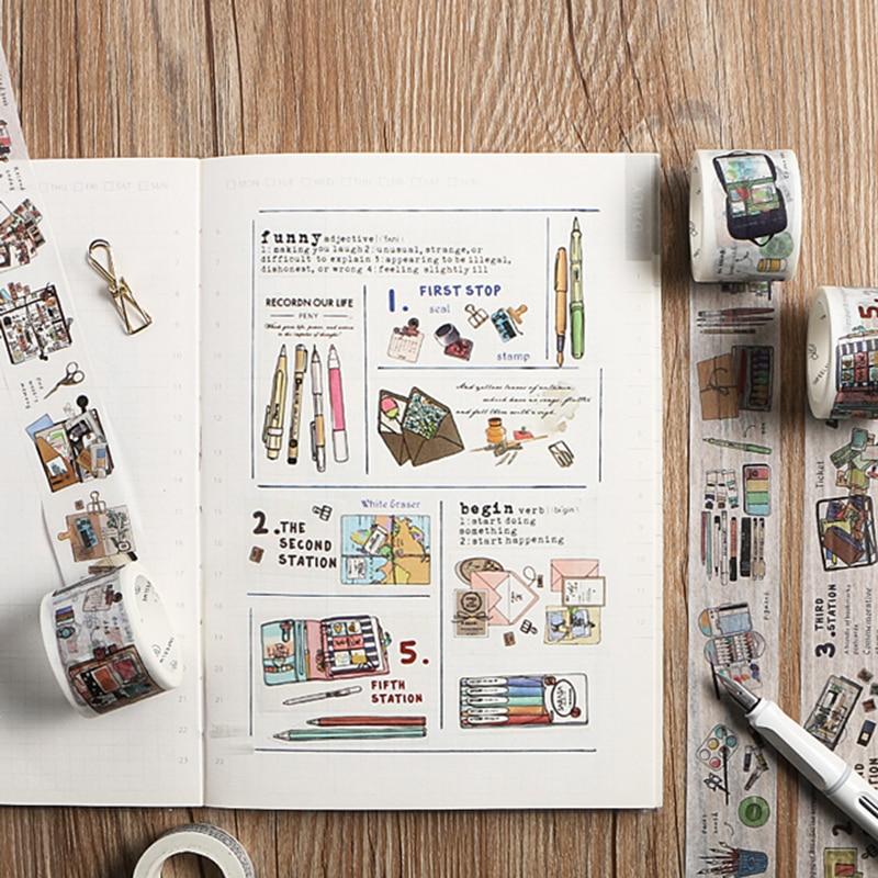 Conjunto de cintas Washi creativas para estudio de acuarela, cinta adhesiva DIY para álbum de recortes, etiqueta adhesiva, cinta adhesiva Kawaii, papelería