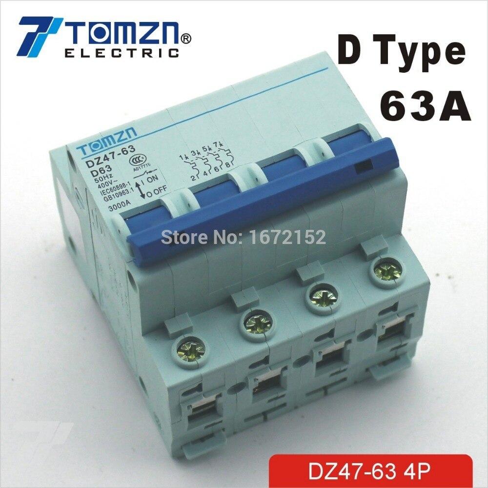 4 P 63A D tipo 240 V/415 V disyuntor MCB 4 polos