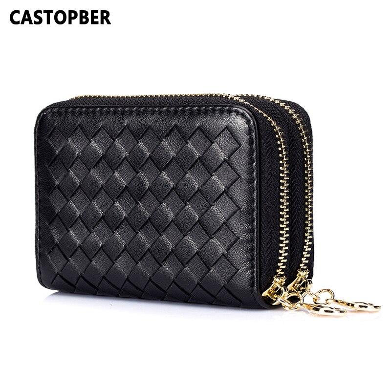 Kożuch wysokiej jakości torby damskie splot posiadacz karty 2 na zamek błyskawiczny torebka handmade prawdziwej skóry RFID etui na karty portmonetka znane marki