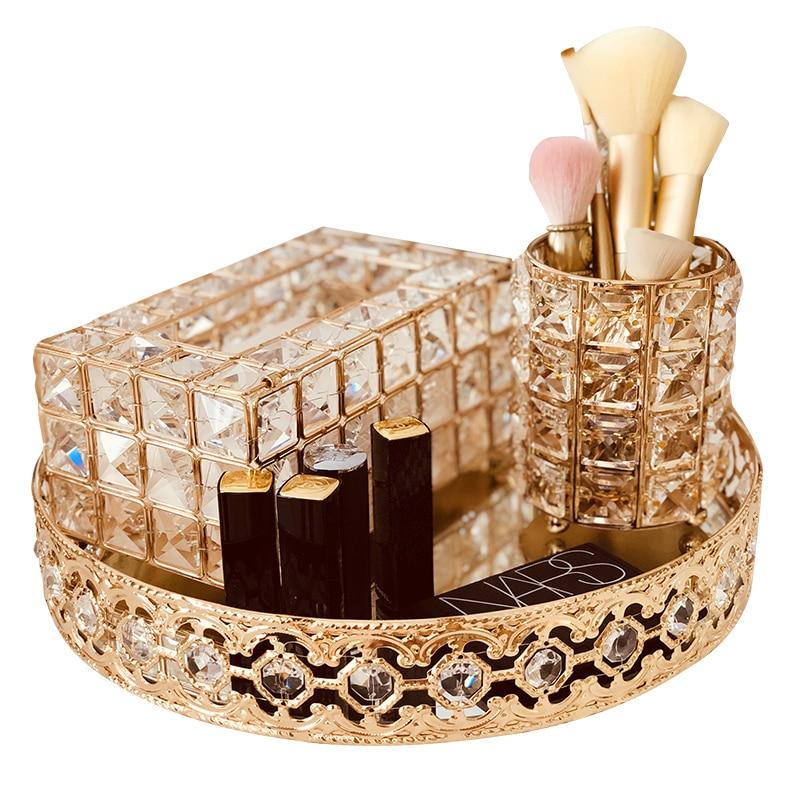 Crystal Glass Cosmetic Storage Box Decorative Metal Mirror Tray Dressing Table Desktop Decoration Tissue Box