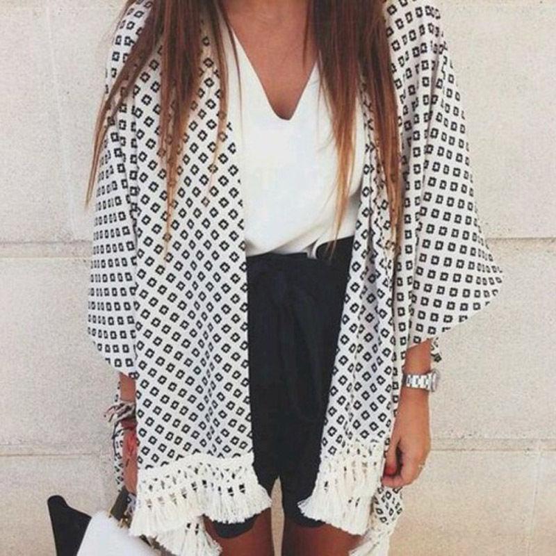 Venda quente verão estilo blusas 2018 feminino borla quimono vintage xadrez impresso cardigan casual solto batwing manga tops blusas