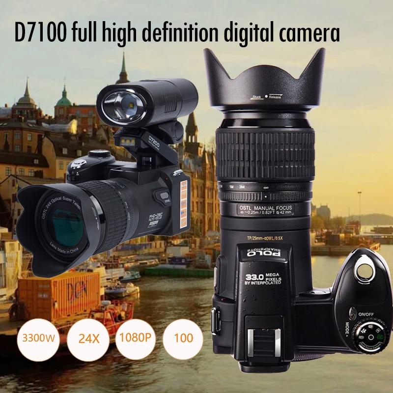 PROTAX D7100 Fotocamera Digitale 33MP FHD DSLR Half-Professionale 24x Teleobiettivo e Ampio Angolo di Lente set 8X zoom Digitale telecamere di Messa A Fuoco