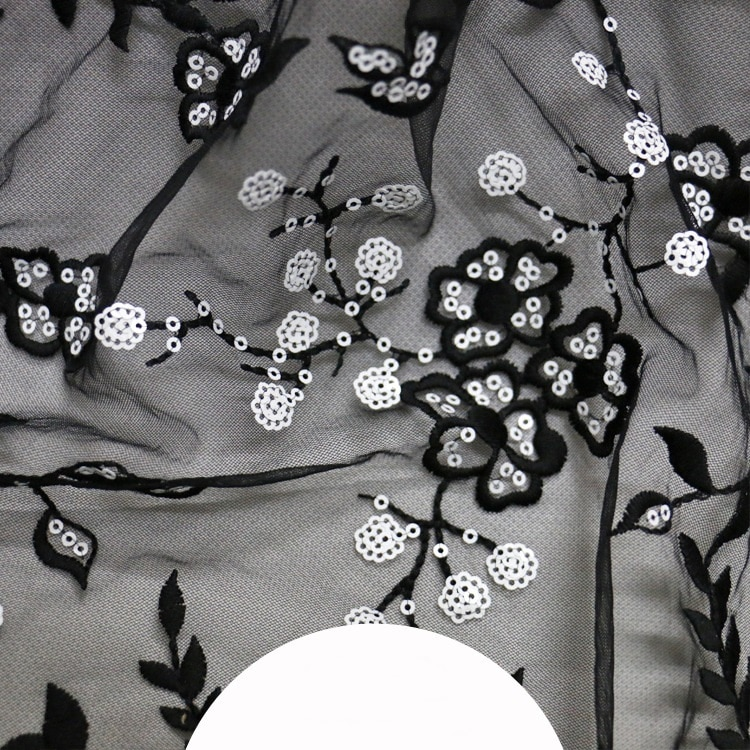 Black milk silk white beads mesh embroidery fabric high-end custom fashion embroidery cloth