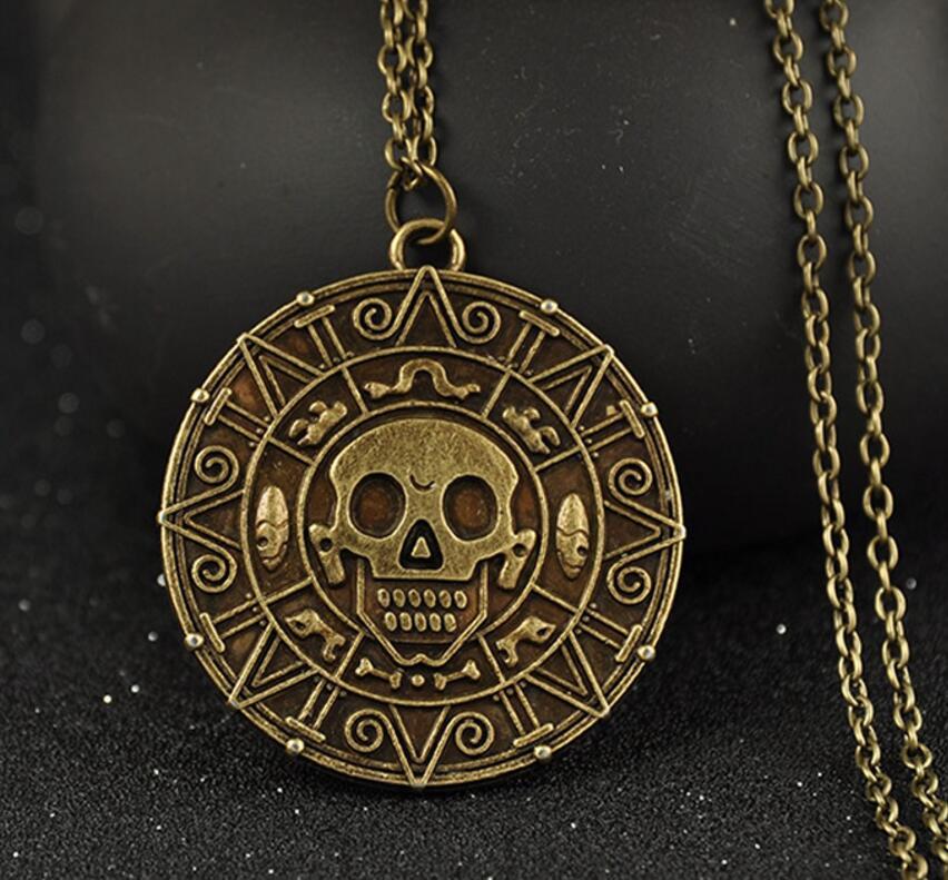 Pirata calaveras azteca oro monedas Collar COLGANTE bronce plateado retro gargantilla Collar declaración Collar mujeres joyería regalos caliente
