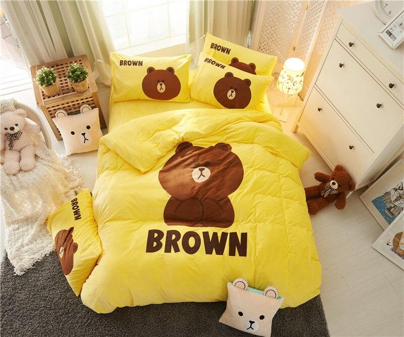 Ropa de cama de lujo de tela de vellón de dibujos animados juego de cama de oso cama doble cama de invierno Queen sábanas de edredón amarillo