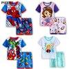 Kids Jongens Meisjes Kleding Baby Pyjama Zomer Korte Mouwen Set Cartoon Spiderman Minnie Lackey Kinderen Nachtkleding