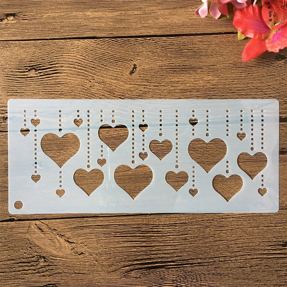32*10cm Love Heart Pendants DIY Craft Layering Stencils Painting Scrapbooking Stamping Embossing Album Paper Card Template