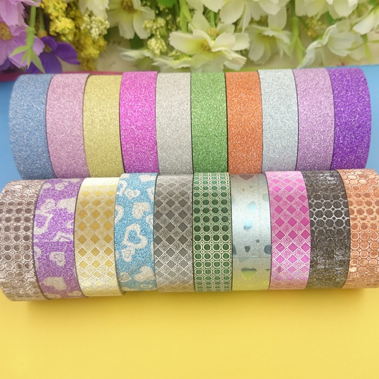 20 colores 20 unids/lote cinta de brillo fuerte adhesiva para cinta adhesiva decorativa adhesiva cinta de camuflaje de espuma