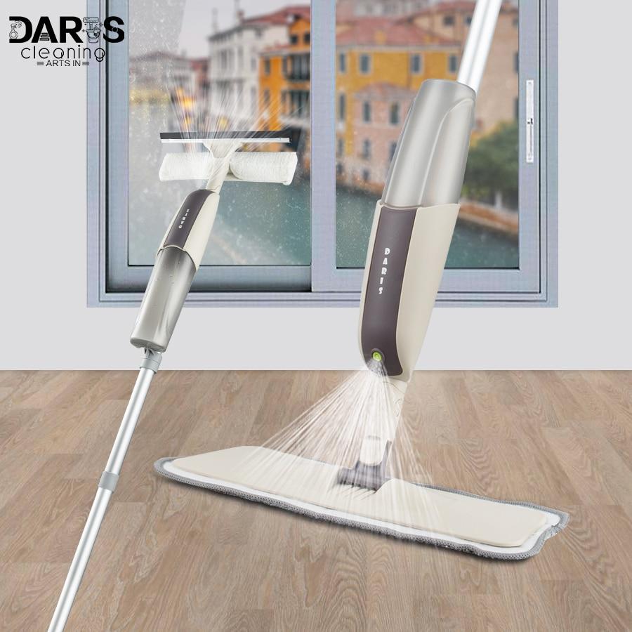 Spray de limpeza de janela, esfregão, limpador de madeira, cabo longo, ferramentas multifuncionais para limpeza doméstica, 4 peças, dropshipping almofadas