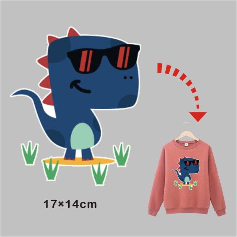Bonitas pegatinas de dinosaurio para ropa de chico y niña, transferencia de calor, plancha en caliente, láminas de hierro en parche lavable para camisetas