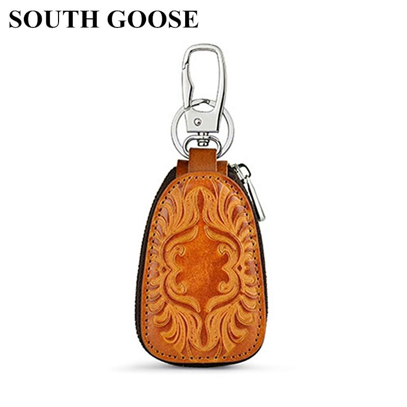 SOUTH GOOSE Genuine Leather Men Key Wallet Male Car Key Holders Housekeeper Retro Multifunctional Home Key Case Female Key Bag
