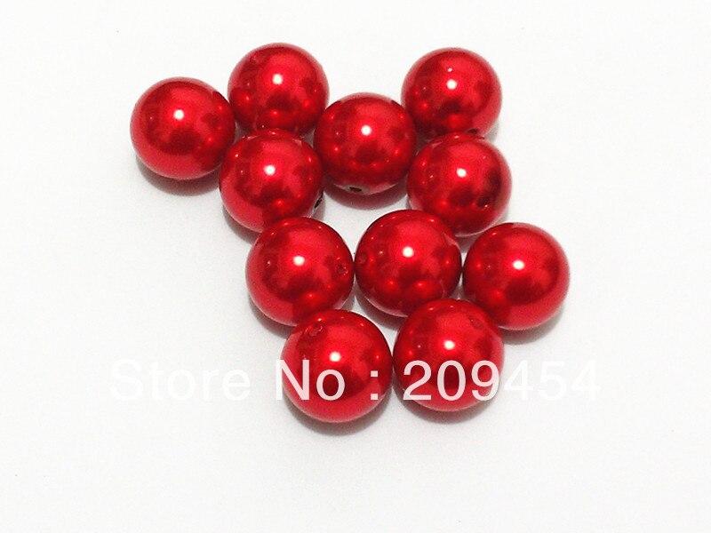 20mm 100 unids/lote rojo brillante grueso redondo perla acrílica de imitación cuentas para hacer joyas para niños