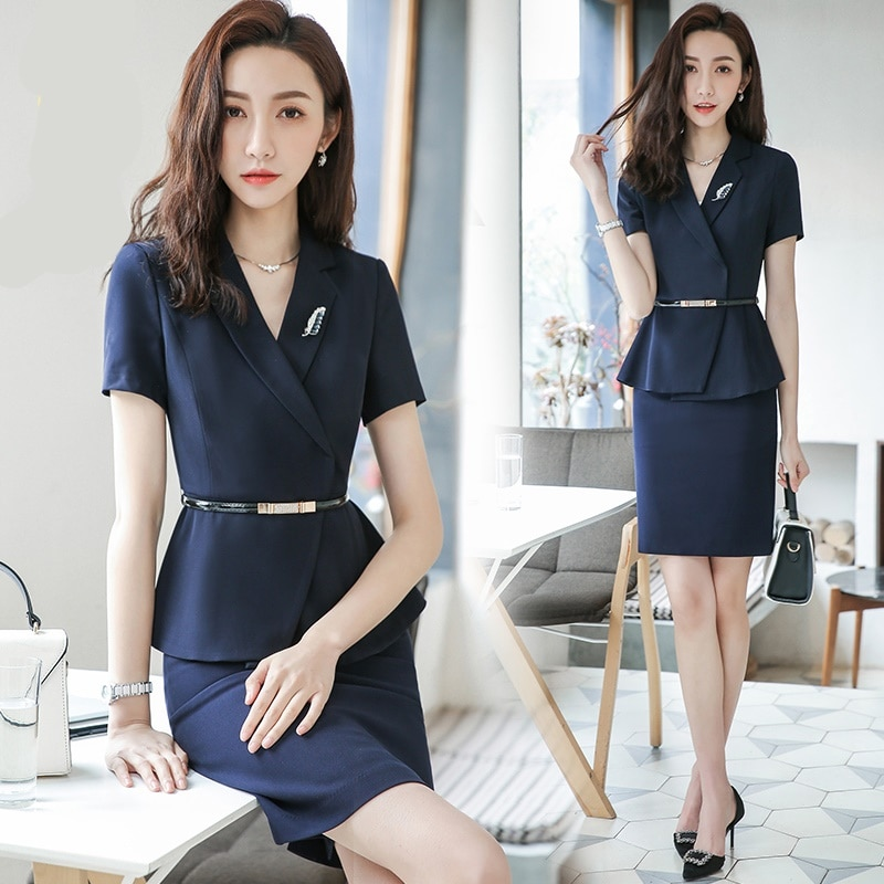 Navy Blue Women Interview Suits Summer White Mini Skirt Business Suit Short Sleeve Ladies Office Uniform Designs DD2040